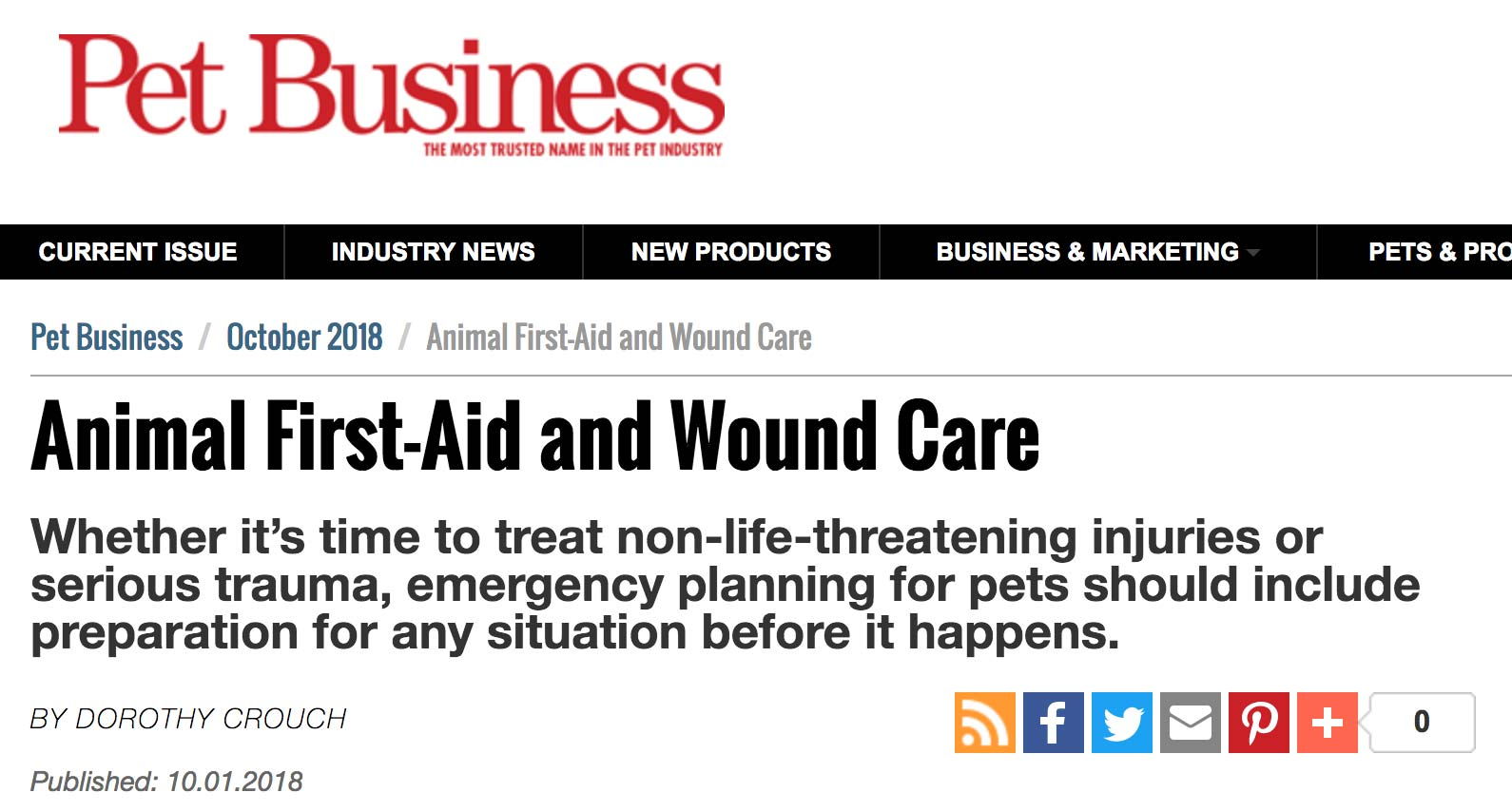 "Pet Business – ""Animal First-Aid and Wound Care"""