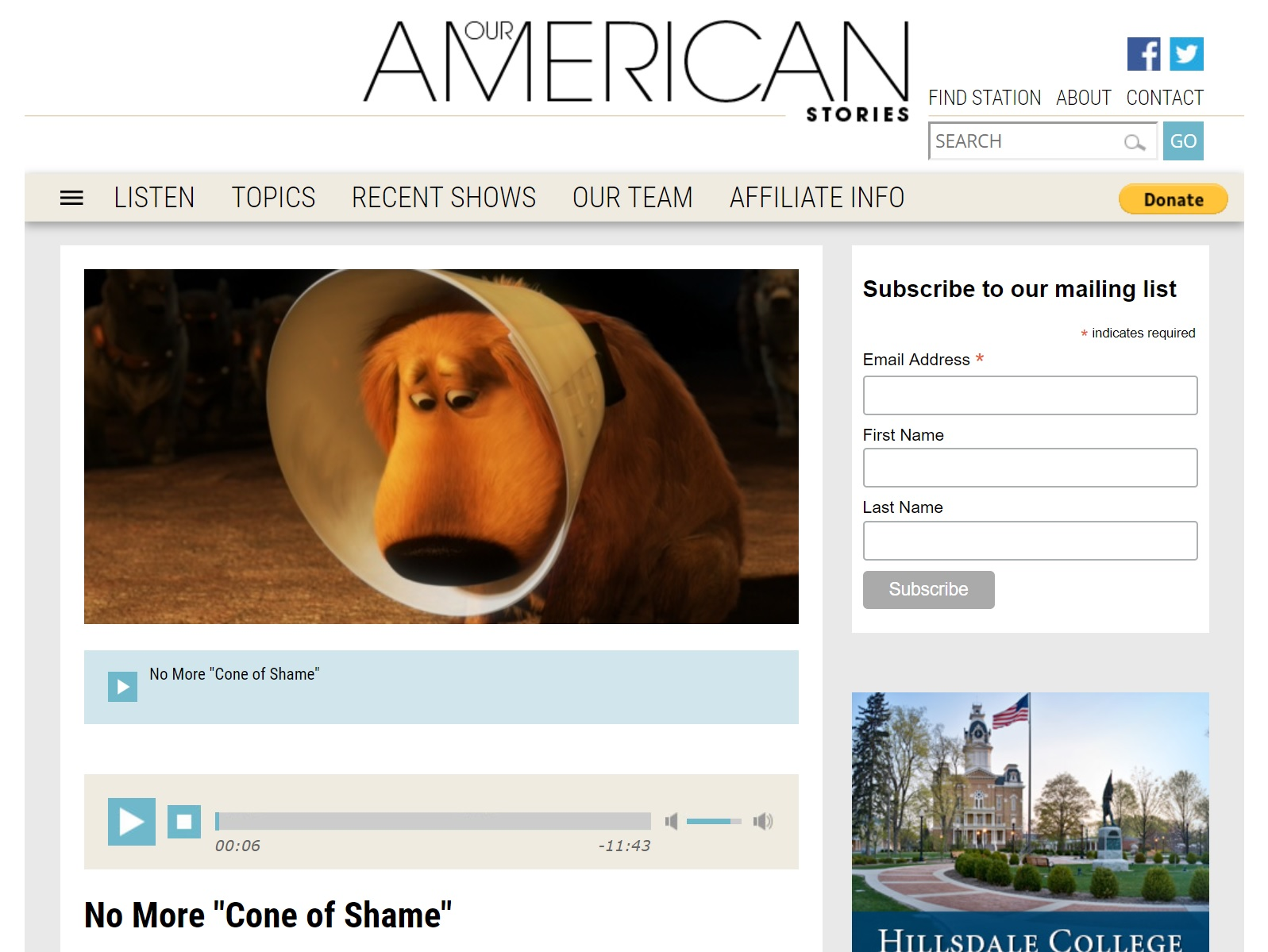 "Our American Stories – ""No More Cone of Shame"""