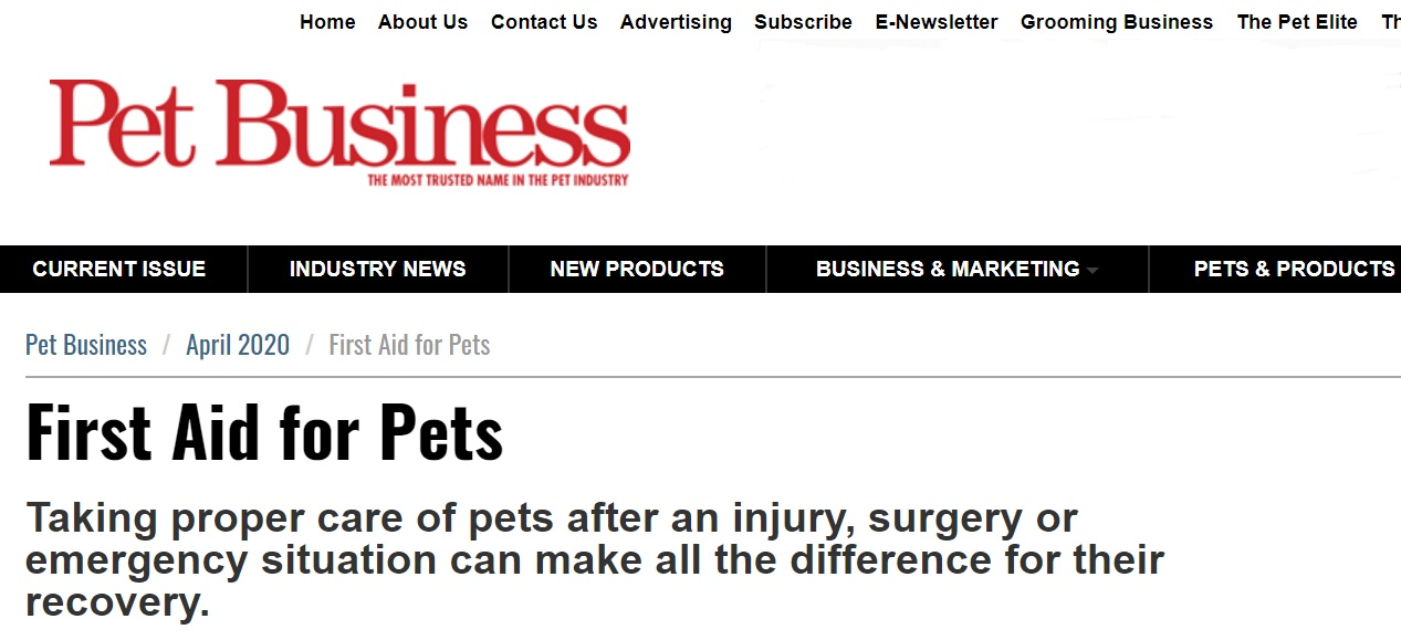 "Pet Business – ""First Aid for Pets"""
